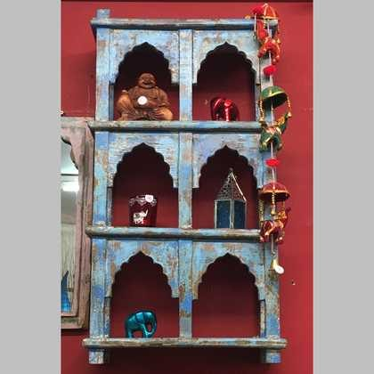 kh14-rs18-086 indian furniture blue wall shelving unit