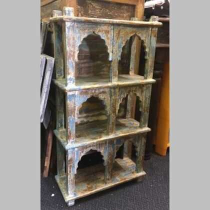 kh14-rs18-086 indian furniture blue wall shelving unit distressed