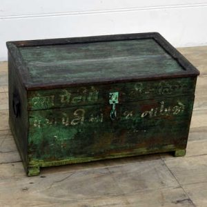 kh14-rs18-089 indian furniture unique trunk with painted text angle view