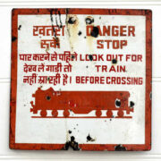 kh14-rs18-090 indian furniture salvaged railway sign train