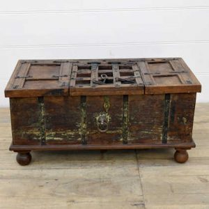 kh14-rs18-099 indian furniture wooden trunk with unique inlay chain