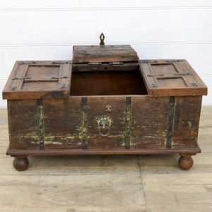 kh14-rs18-099 indian furniture wooden trunk with unique inlay hatch