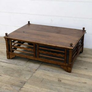 kh14-rs18-100 indian furniture large teak wood coffee table spindle