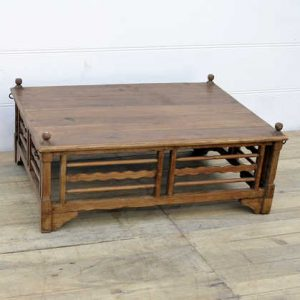 kh14-rs18-100 indian furniture large teak wood coffee table angle