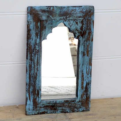 kh14-rs18-102 indian furniture distressed blue mihrab mirror angle