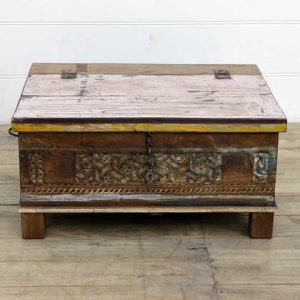 kh14-rs18-107 indian furniture carved front reclaimed trunk yellow