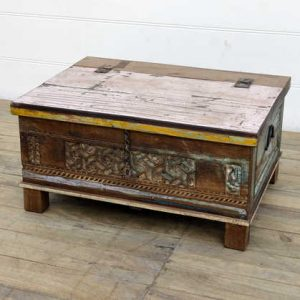 kh14-rs18-107 indian furniture carved front reclaimed trunk punk