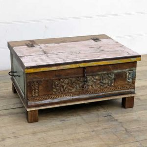 kh14-rs18-107 indian furniture carved front reclaimed trunk angle