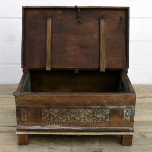 kh14-rs18-107 indian furniture carved front reclaimed trunk open