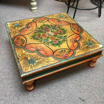 kh14-rs18-110-b indian furniture hand painted bajot table yellow