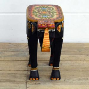 kh14-rs18-116 indian furniture hand painted elephant stool front