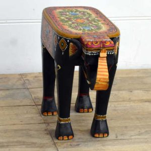 kh14-rs18-116 indian furniture hand painted elephant stool angle