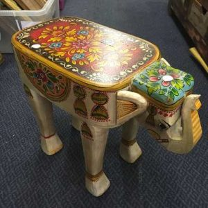 kh14-rs18-116 indian furniture hand painted elephant stool beige