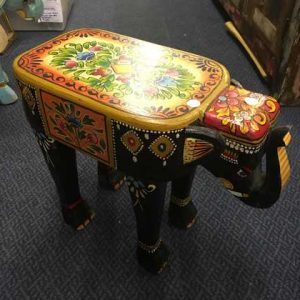 kh14-rs18-116 indian furniture hand painted elephant stool black
