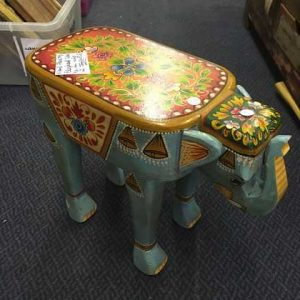 kh14-rs18-116 indian furniture hand painted elephant stool blue