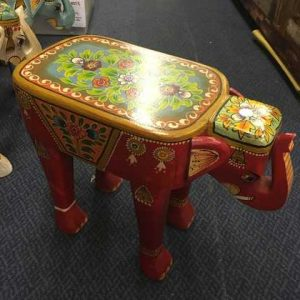 kh14-rs18-116 indian furniture hand painted elephant stool red