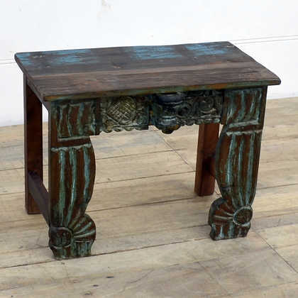 kh14-rs18-128 indian furniture unusual low table carved legs left