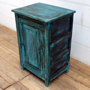 kh15-p1580519 indian furniture blue bedside cabinet carved door unusual quirky