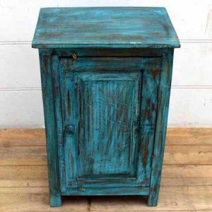 kh15-p1580519 indian furniture blue bedside cabinet carved door distressed rustic