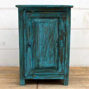 kh15-p1580519 indian furniture blue bedside cabinet carved door deep blue wash