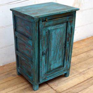 kh15-p1580519 indian furniture blue bedside cabinet carved door twin