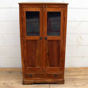 kh15-p1580592 indian furniture natural finish teak cabinet display glass simple