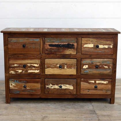 kh15-rs18-014 indian furniture reclaimed chest of drawers colourful natural wood grain