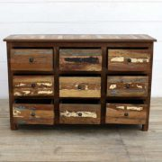 kh15-rs18-014 indian furniture reclaimed chest of drawers colourful distressed paintwork