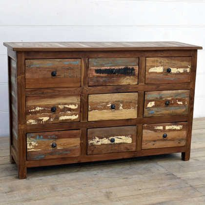 kh15-rs18-014 indian furniture reclaimed chest of drawers colourful recycled