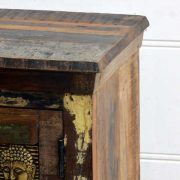 kh15-rs18-016 indian furniture reclaimed buddha bedside table unit brass plate