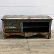 kh15-rs18-017 indian furniture reclaimed tv television unit rustic distressed