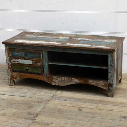 kh15-rs18-017 indian furniture reclaimed tv television unit blue wash
