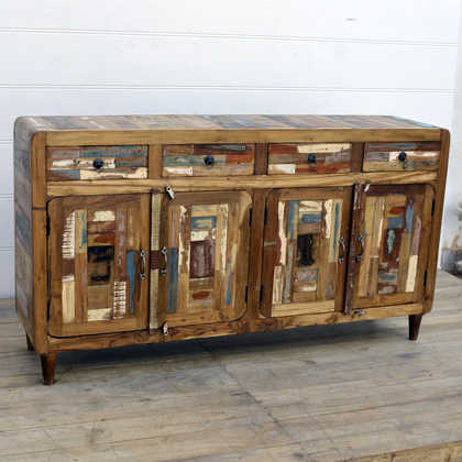 kh15-rs18-021 indian furniture large colourful reclaimed sideboard cabinet curved edges