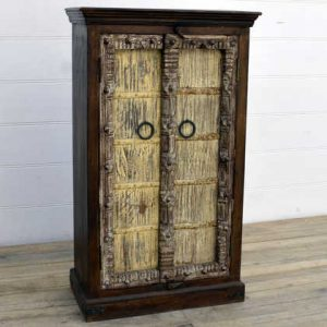 kh15-rs18-022 indian furniture yellow old door cabinet hand carved