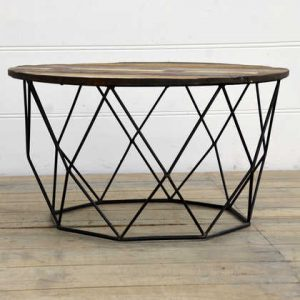 kh15-rs18-058 indian furniture low wire table reclaimed wood round circular