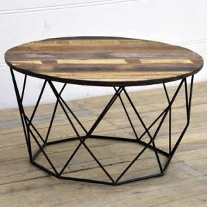 kh15-rs18-058 indian furniture low wire table reclaimed wood unusual metal