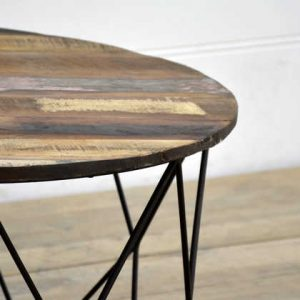 kh15-rs18-058 indian furniture low wire table reclaimed wood distressed paint