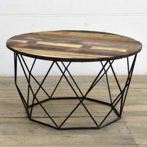 kh15-rs18-058 indian furniture low wire table reclaimed wood coffee table