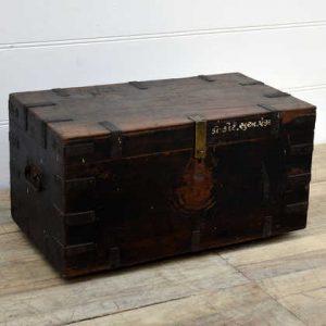 kh15-rs18-068 indian furniture worn aged vintage trunk metal banding