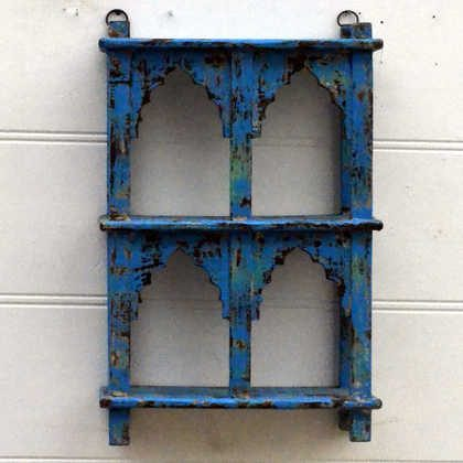 kh15-rs18-087 indian furniture classic jodhpur arched shelving unit bright blue