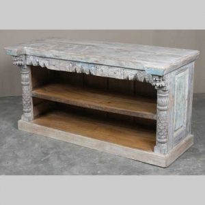 k64-60114 indian furniture hand carved reclaimed whitewash tv unit panel sides