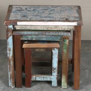 k64-60123 indian furniture reclaimed nest of tables colourful coffee lounge