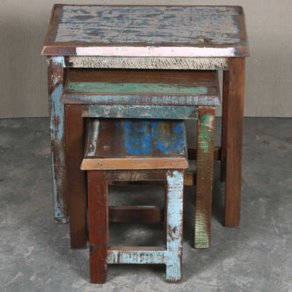 k64-60123 indian furniture reclaimed nest of tables colourful distressed