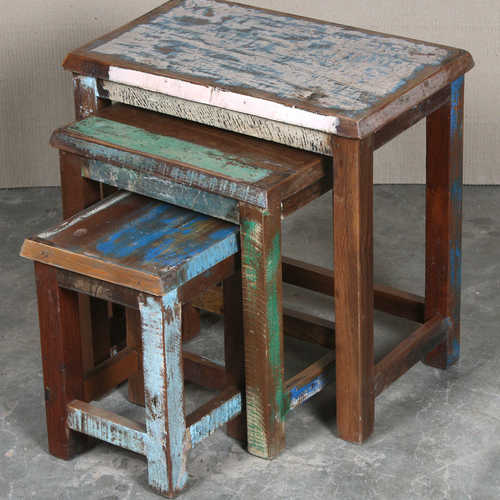 k64-60123 indian furniture reclaimed nest of tables colourful green blue