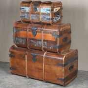 k64-60125 indian furniture treasure trunk chest reclaimed colourful curved trunk