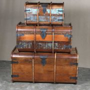 k64-60125 indian furniture treasure trunk chest reclaimed colourful strengthening metal work