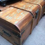 k64-60125 indian furniture treasure trunk chest reclaimed colourful - angled
