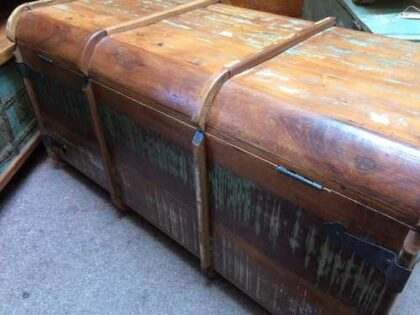 k64-60125 indian furniture treasure trunk chest reclaimed colourful - back