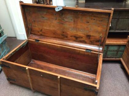 k64-60125 indian furniture treasure trunk chest reclaimed colourful - open