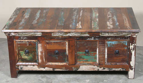 k64-60126 indian furniture large reclaimed coffee table with drawers distressed